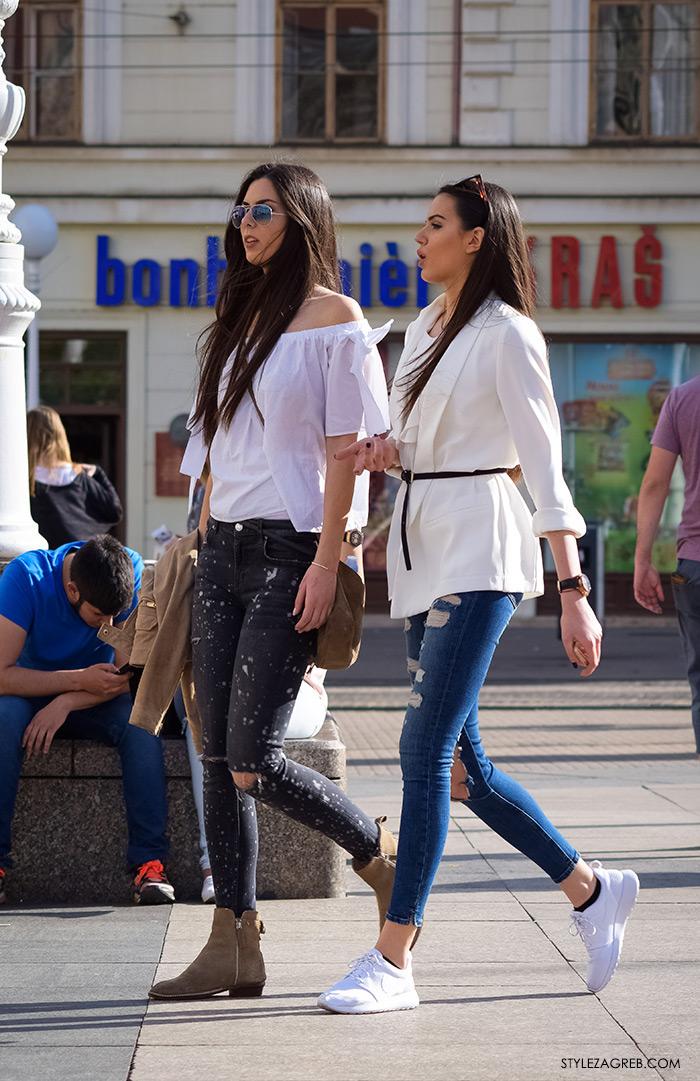 street style zagreb top off shoulder gola ramena, bijeli top Zara otvorenih ramena i Zara traperice na bijele točkice