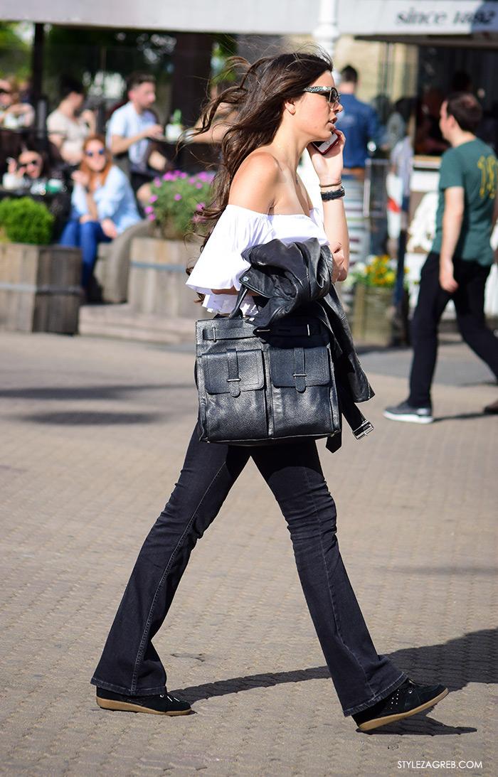 Nikol Ščrbec ekonomistica, street style zagreb top off shoulder gola ramena, bijeli top Zara otvorenih ramena i trapezice, zgodna žena, ženska moda