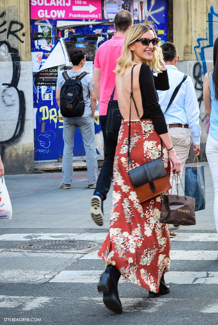 Street style Zagreb, Ivana Cvrlje menadžerica Zara, ljetna moda kako nositi top gola leđa i cvjetasta maksi suknja, ženska moda