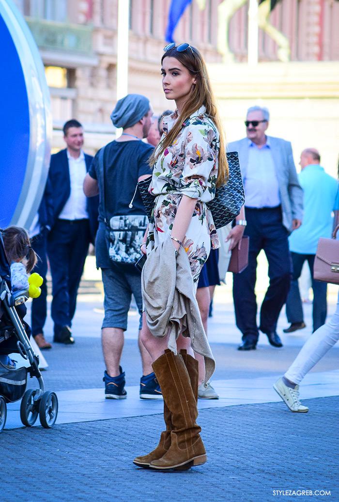 street style Zagreb, ulična ženska muška moda lipanj 2016, Zara midi haljina, gamoš čizme outfit