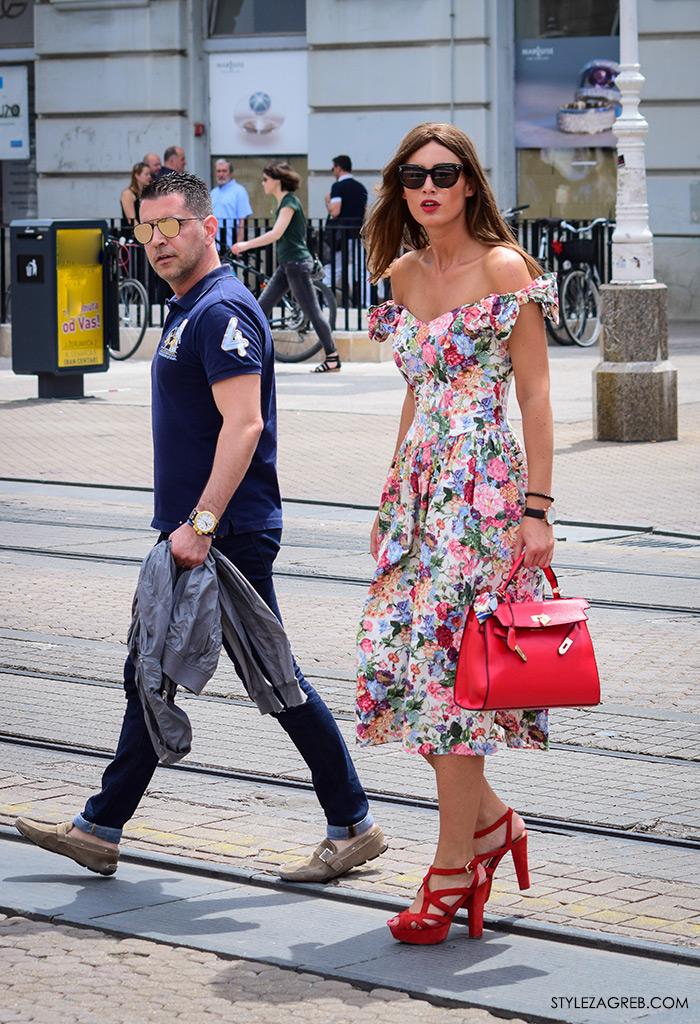 Cvjetasta haljina sa špice,street style Zagreb,zagrebačka špica,zgodna žena u retro haljini, Hermes crvena trorba