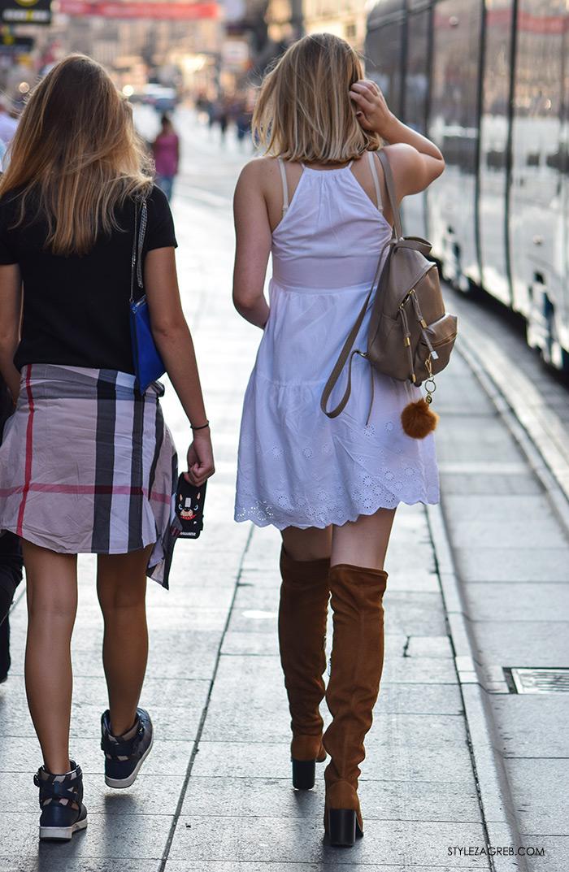 Street style Zagreb ulična moda rujan 2016 kraj ljeta, smeđe čizme preko koljena
