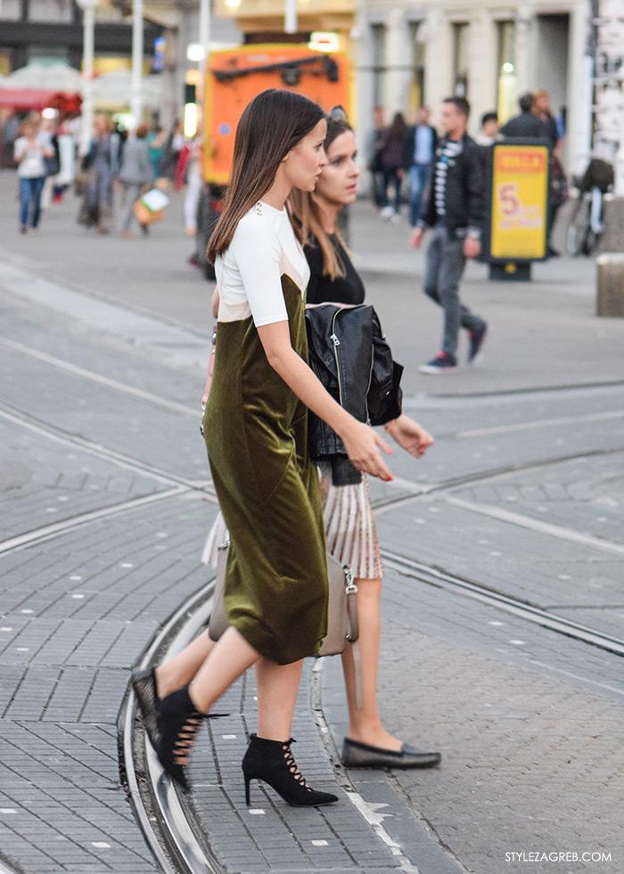 Street style Zagreb, kako cure nose maksi siva haljina i zelena baršun haljina na bretelice iz Zare kombinacije