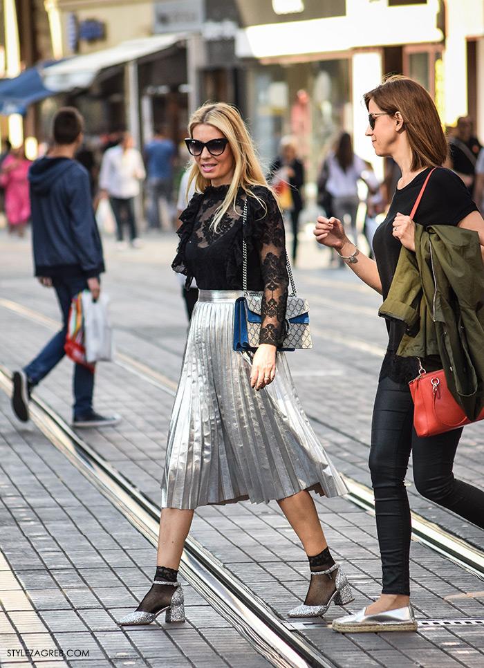 plisirane suknje zima 2016, Odvjetnica Ana Olivari Pavličić kupiti metalik plisirane suknje srebrne šljokičaste cipele Mary Jane moda 2016 jesen street style zagreb