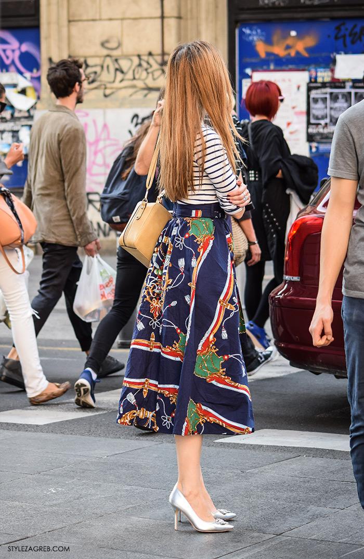 gdje kupiti metalik plisirane suknje srebrne šljokičaste cipele zlatne tenisice moda 2016 jesen street style zagreb midi suknja i prugasta majica srebrne štikle