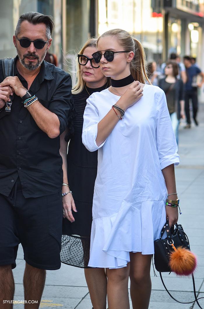 Street style Zagreb, moda zima 2016. kako nositi choker, kombinacija bijela haljina asimetrični kroj Zara, crni choker i mini torbica narančasti krzneni pompon Instagram