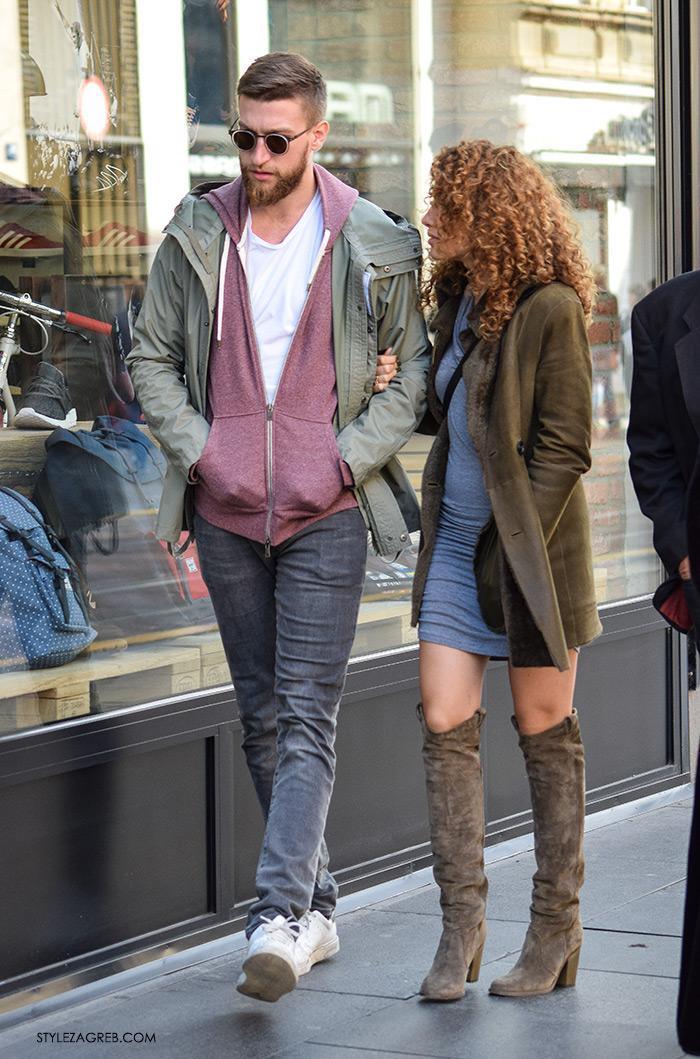 Par ženska muška moda jesen 2016 street style Zagreb ulična moda modna kombinacija sivo-maslinaste včizme preko koljena, frizura kovrčava kosa