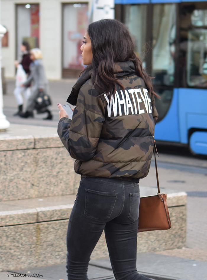street style Zagreb ulična moda jesen zima 2016 kombinacija maskirna pernata jakna Whatever natpis na leđima Zara make up trikovi Jelena Peric Instagram