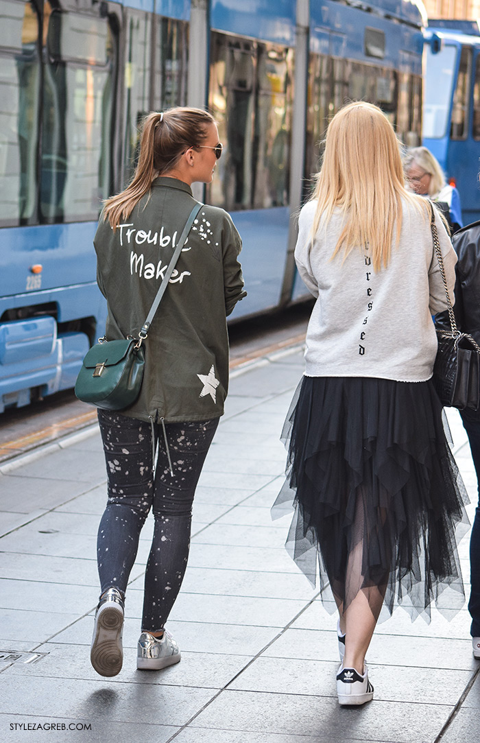 street style Zagreb ulična moda jesen zima 2016 kombinacija vojnička jakna Trouble Maker i srebrbe tenisice, Til suknja i sivi sweatshirt make up trikovi Jelena Peric Instagram