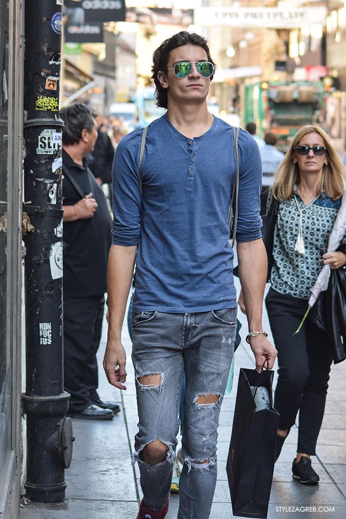 Street style Zagreb jesen 2016 muška moda, poderane traperice, metalizirane sunčane naočale