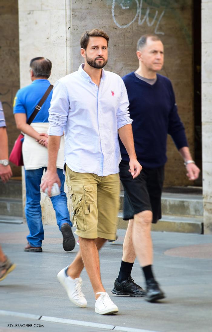Street style Zagreb jesen 2016 muška moda, plava košulja Ralph Lauren, bermude i bijele tenisice Adidas