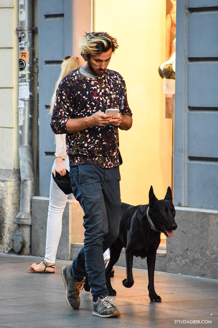Street style Zagreb jesen 2016 muška moda, dečko i crni pas