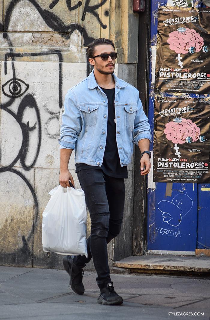 Street style Zagreb jesen 2016 muška moda, dress code jeans jacket, traper jakna i crne sunčane naočale