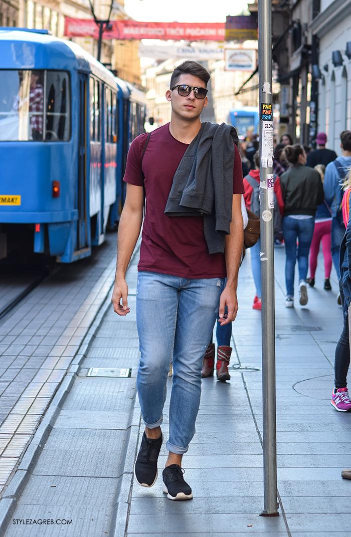Street style Zagreb jesen 2016 muška moda, podvrnute traperice i crne tenisice