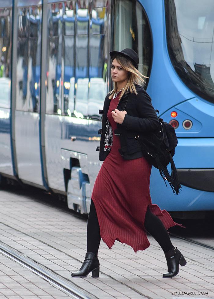 Style Zagreb šesiri moda zima 2017 street style Zagreb, duga pletena haljina bordo boja, crni ruksak i crni šešir