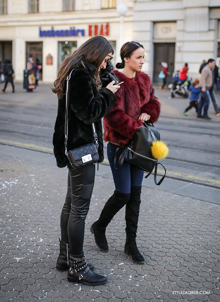 Bundice street style Zagreb ženska moda zima 2017, new faux fur coats and how fashion blogger wear them, stylish womens fashion, winter fashion 2017, Bundice: Kakvi modeli i krojevi se nose u Zagrebu, bundice od umjetnog krzna, roza crna zelena bundica vintage look kako kombinirati