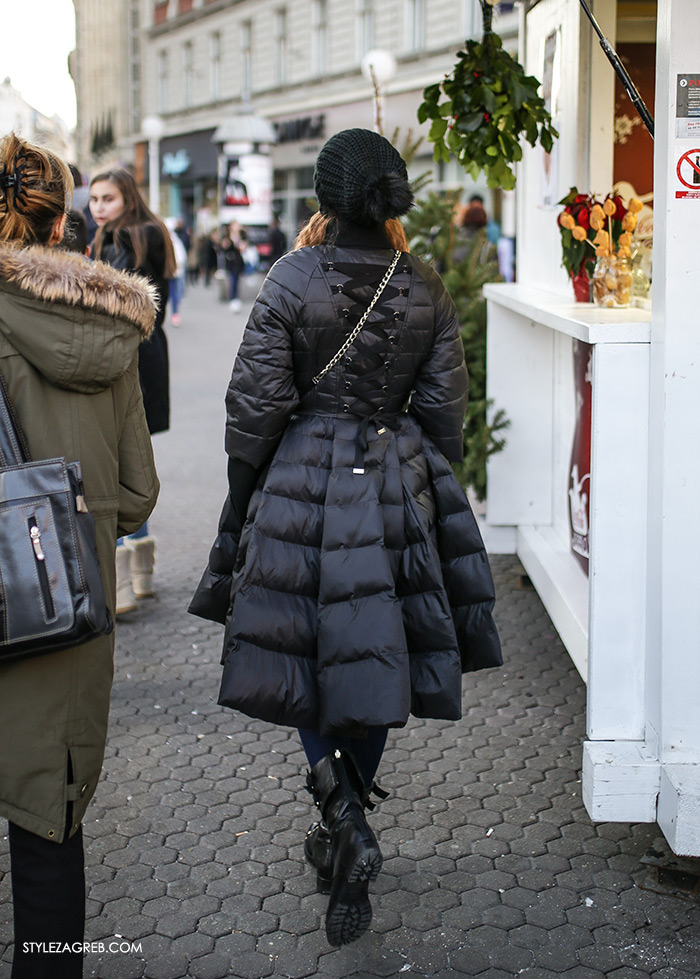 "bomber jacket trend, bomber jakna trend, winter padded jacket, womens winter fashion, ženska moda zima, pernate punjene jakne crvena i gojzerice kako nositi, street style Zagreb, ulična moda fotano na Ilici, Friško ""ulovili"" štosne pernate jakne - kakvi krojevi se sada nose, Marija Čevizović stomatolog"