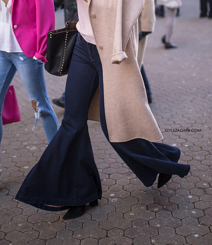 Najmodernija cura na špici slika Style Zagreb ženski kaput, trapez hlače, street style Zagreb ulična moda kako nositi trapezice Severina kave se traperice sada nose