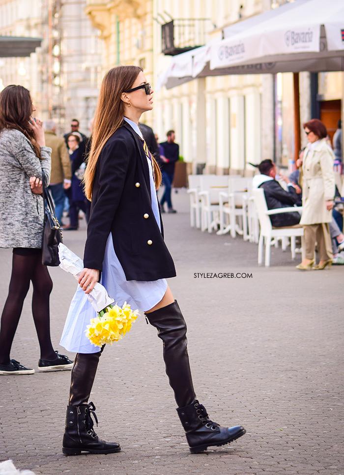 Milica Mihajlović Instagram, Košulja-haljina: novi val u dnevnom odijevanju, street style Zagreb, kako kombinirati kosulja-haljina, kozna minica, čizma preko koljena, plavi sako sa zlatnim gumbima