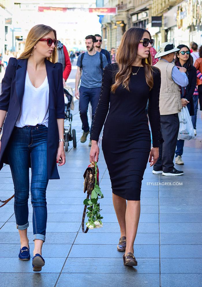 zagrebačka špica proljetna moda street style Dora Juras Pivac styling Instagram, crna haljina i mokasine