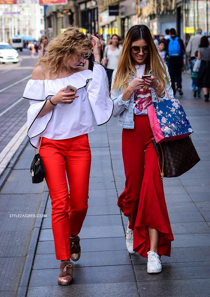 zagrebačka špica proljetna moda street style kako nositi crvene zvonolike hlače trapez styling