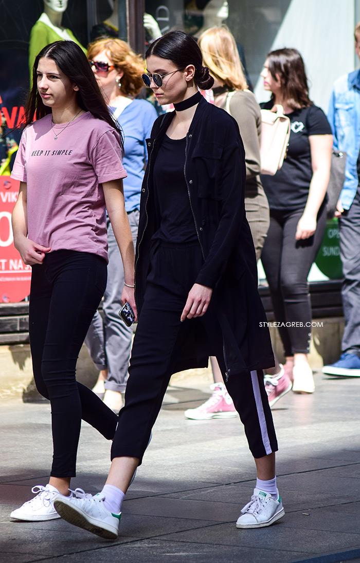 zagrebačka špica proljetna moda street style Kendall Janner lookalike, crni chocker i crna trenirka