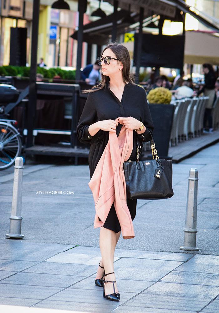 zagrebačka špica street style zagreb kako nositi crna midi haljina i cipele na remenčiće, poslovni look