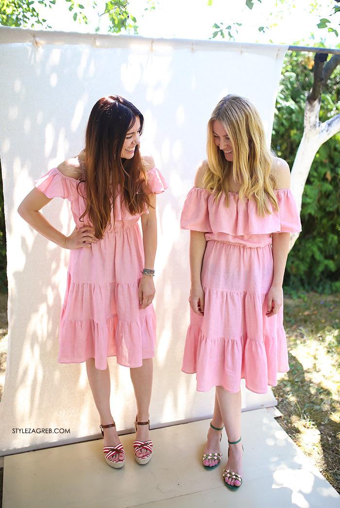 Sisters Jo moda by Style Zagreb, Slavica Josipović, Ana Josipović, roza lanena off shoulder haljina, pink off shoulder linen dress
