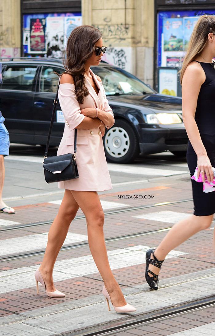 roza sako haljina i roza štikle Zara žena sa stilom Zagreb street style ljetna moda srpanj 2017.