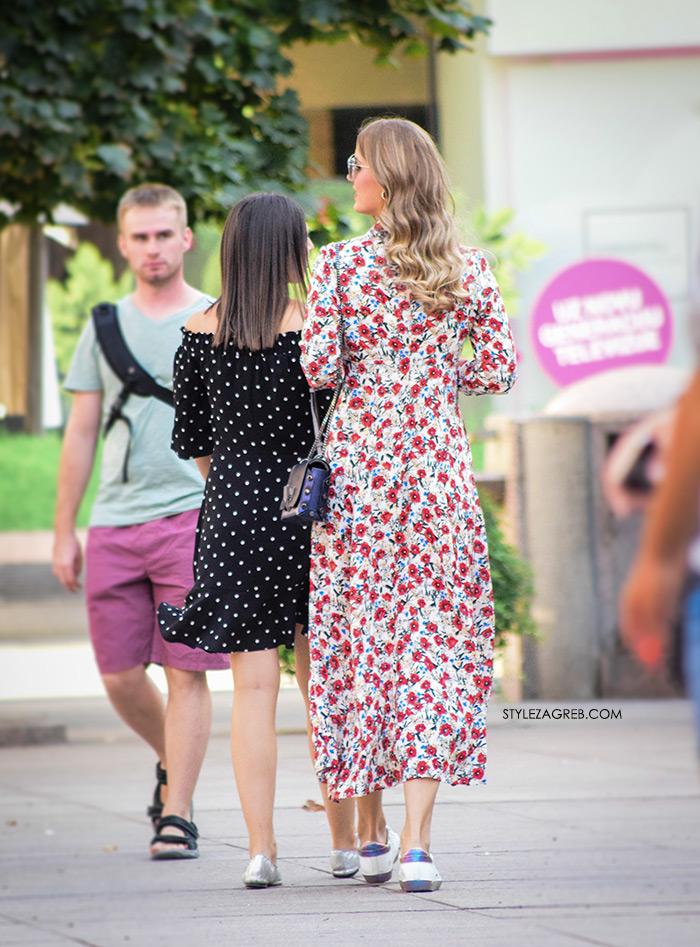 Ženska moda špica street style Zagreb kolovoz 2017 cvjetasta maksi haljina