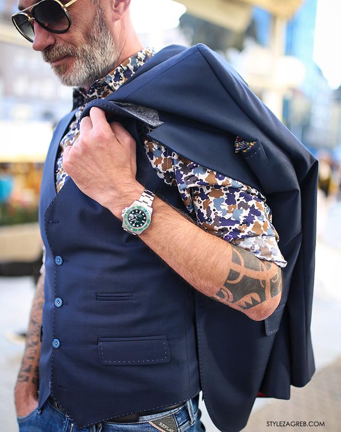 Alen Kolbas: Kontrolor leta s tetovažama u finom odijelu | Style Zagreb street style muška moda odijelo Ivica Klarić, traperice Replay, Gucci loafers