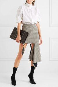 Balenciaga - Asymmetric Checked Wool-blend Mini Skirt