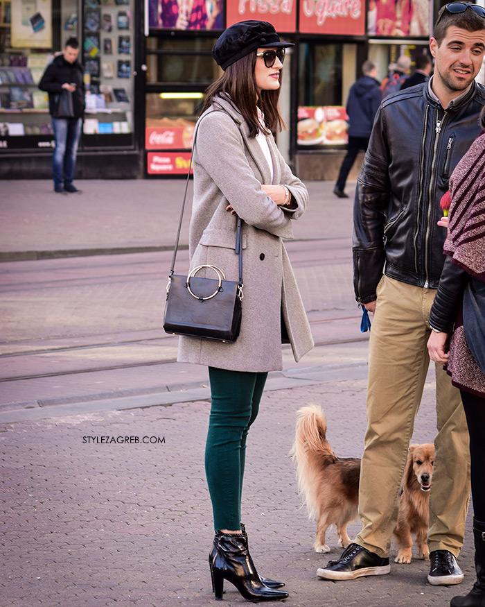 street style zagreb sivi kratki kaput špica