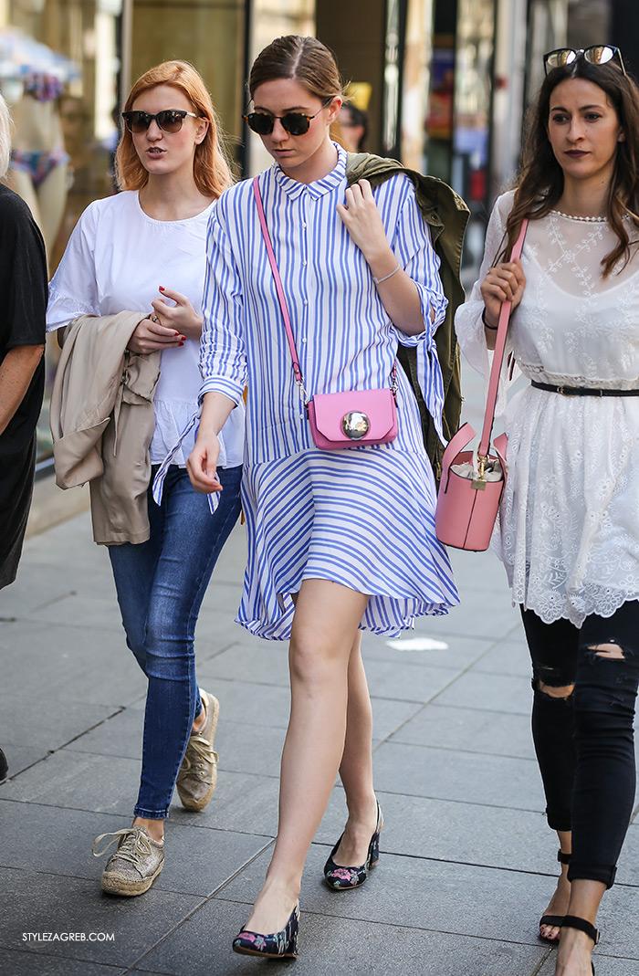 prugasta haljina mala roza torbica špica najnovije zagreb