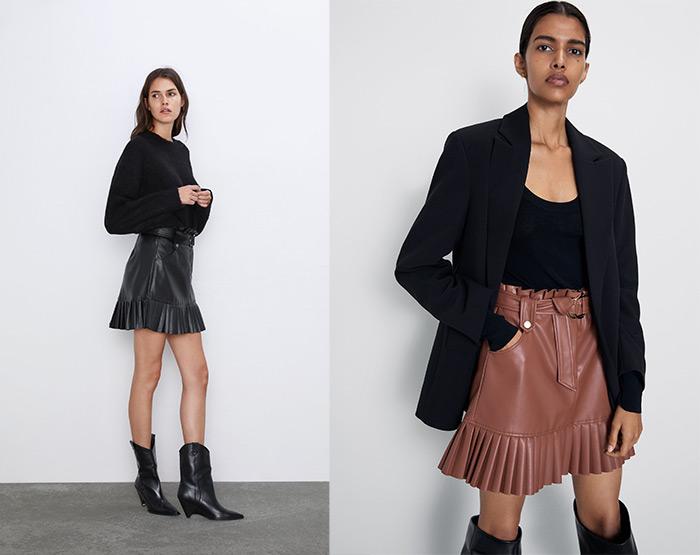 zara shop online hrvatska Zara minica od umjetne kože s plisiranim volanom Zara Ilica