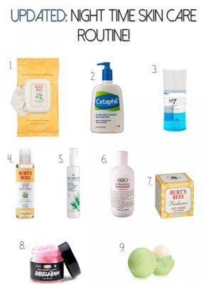 Skin care routine at night.