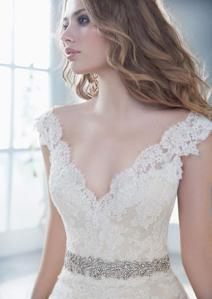 Net neckline and a satin dress bridesmaid dress