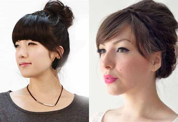 updo hair-with-bangs