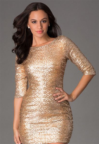 Cocktail Golden sequenced elegant short dress