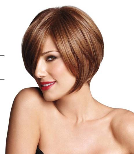 Angled one Length Bob hair