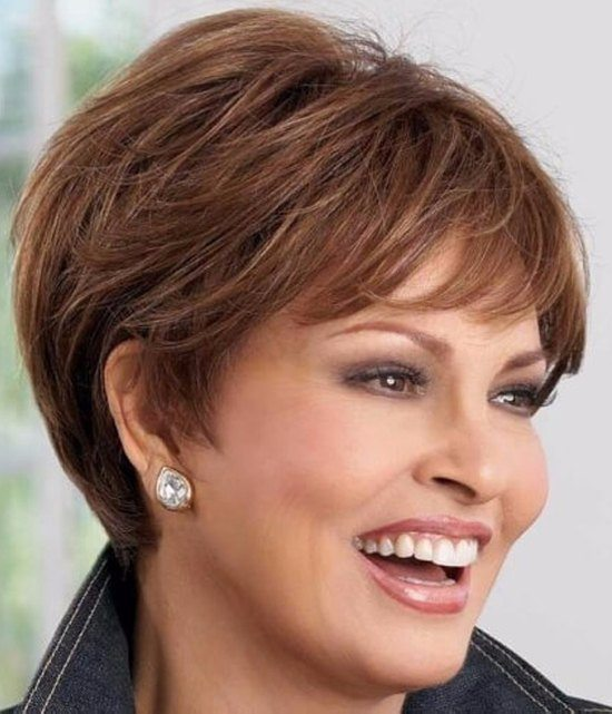 Chestnut Brown Short Haircut for Women Over 50