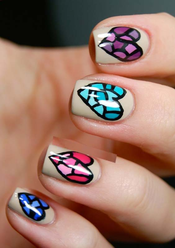 Colored Hearts Nail Arts Designs