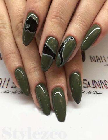 Fresh & Cute Green Nail Designs for Long Nail In 2018
