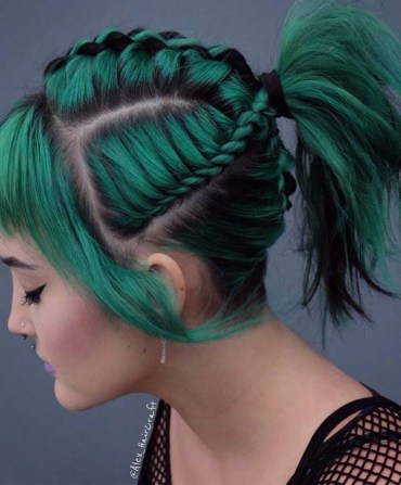 Green Colored Braided Ponytail Hairstyles for 2019