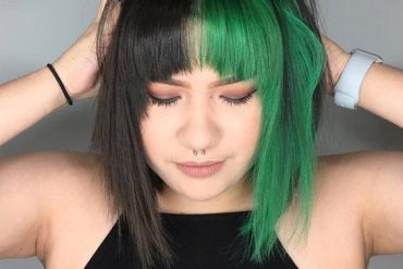 Perfect Green & Black Hair Color Combination for Short Hair In 2019