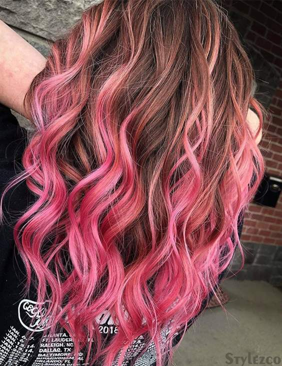 Light Pink Brown Hair Color Combinations For Ladies Stylezco