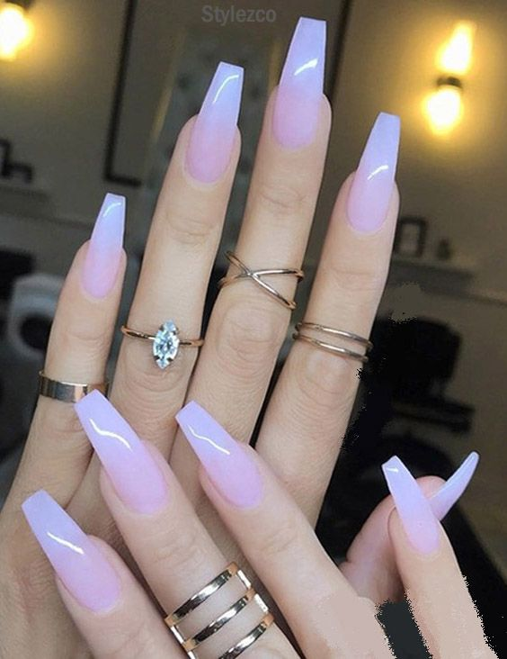sheer milky pink long nail art