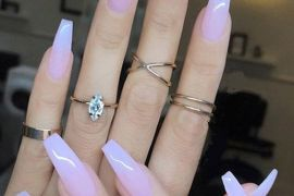 Sheer Milky Pink Long Nail Art Trends & Styles for 2018-2019