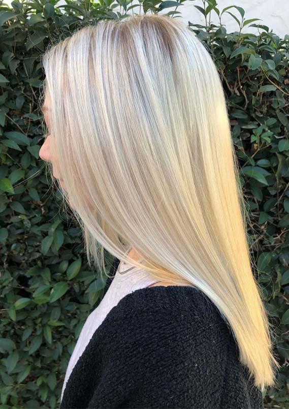 Sleek Straight Blonde Balayage Hairstyles in Year 2019