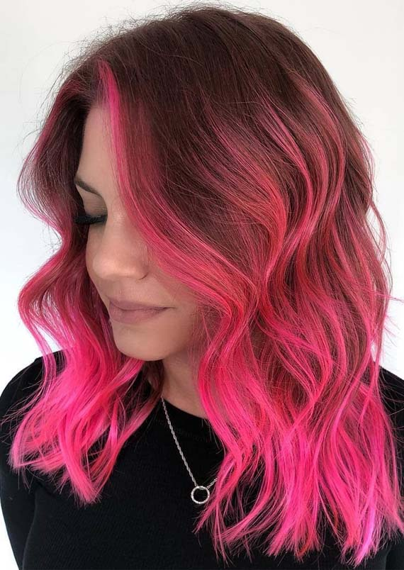 Fresh Pink Hair Color Shades With Dark Roots In 2019
